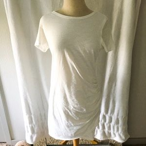 White Ruched Body Con Tee Shirt Dress
